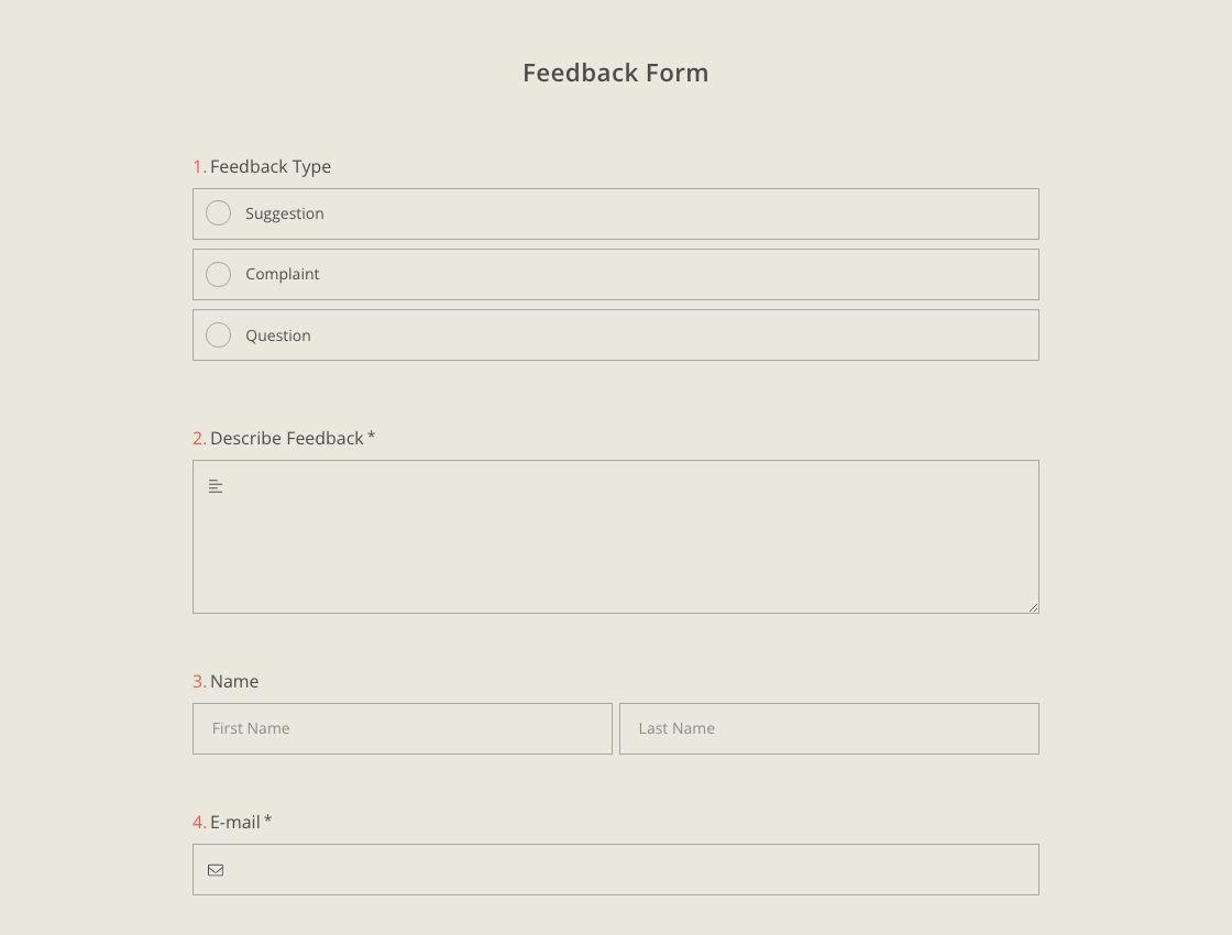 Feedback-Formularvorlage