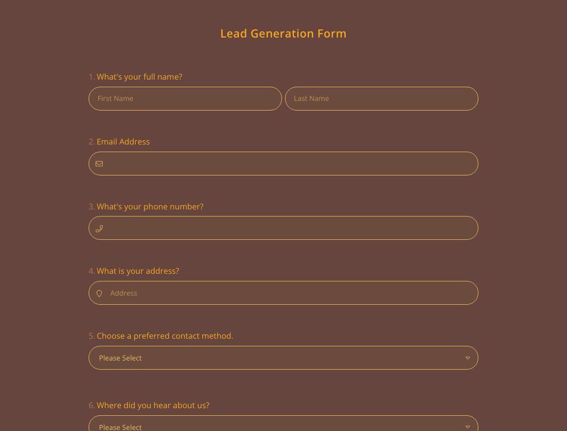 Formularvorlage zur Lead-Generierung