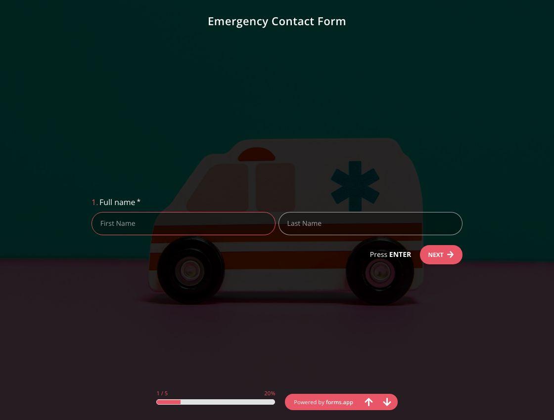 Modèle de Formulaire de Contact D'urgence