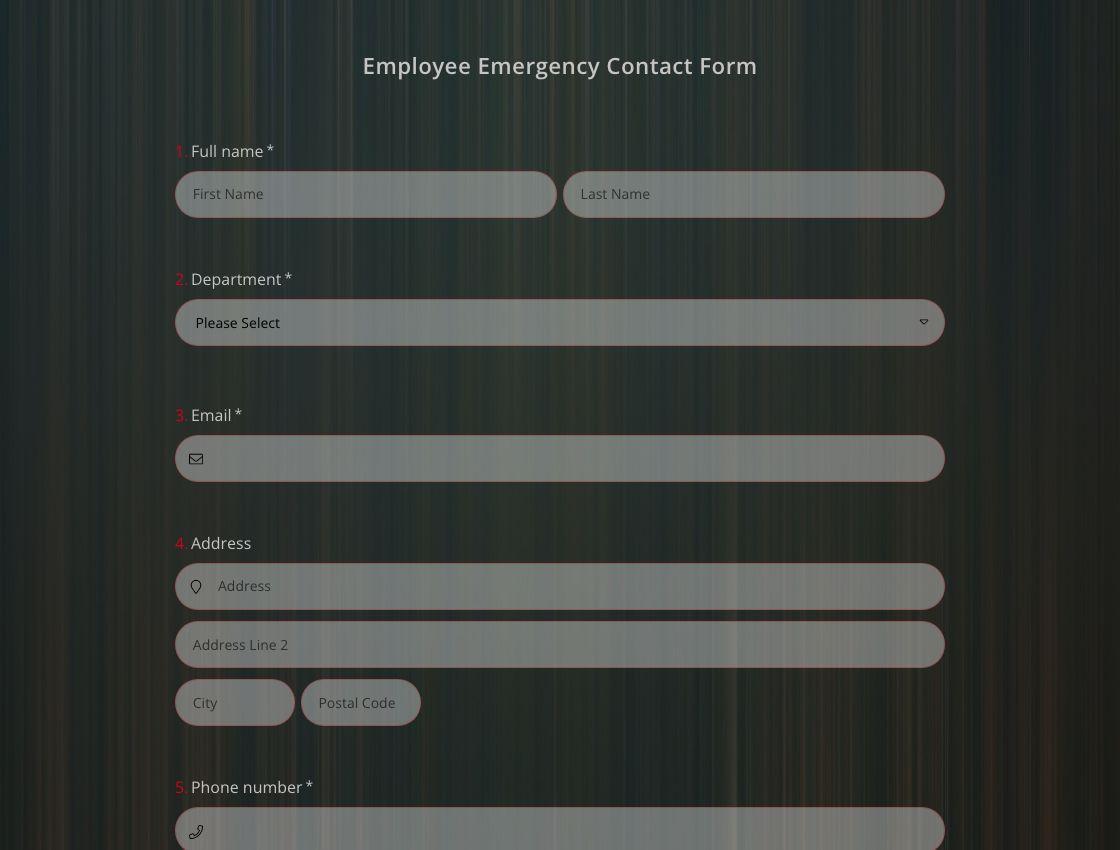Modèle de Formulaire de Contact D'urgence pour les Employés